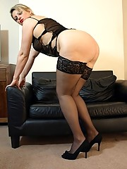 Housewife Daniella in short sheer nightie and stockings