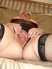Kinky English slut in pvc and fishnet stockings