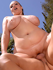Amazing big tits bikini babe sierra gets banged hard in many positions by the pool in these hot cum faced pics