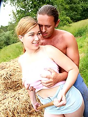 Teenager with massive tits pleases a farmer his big cock