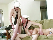 2 guys loving sexy white chick