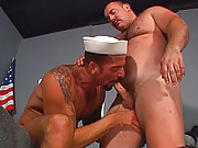 Navy bears have a cock sucking fest