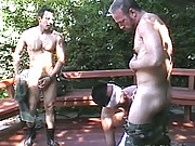 Blindfolded guy sucks on two old dicks