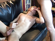 Lusty twinks go for ass-to-mouth on a leather sofa