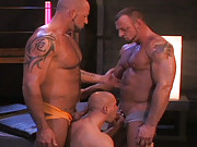 Vin Costes looks so small among the mountainous muscle in this buff three-way fuck. He is sandwiched between Brock and Hank as the video begins and worships the pumped meat of his embracers. But he