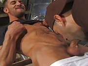 When you have a ripped, hairy body like Michael Soldier, you can afford to boss people round, which is exactly what he does to delivery man Buck Phillips. He throat fucks the hungry cock eater, shoving his big dick in and out with aggressive force and eve