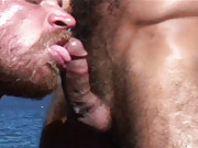 This sexy oral scene stars two of our biggest names and hairiest men -  Steve Cruz and Jake Deckard. Steve and Jake are on a rocky cliff overlooking the ocean. With nothing but blue sky and sea behind them they take a moment to relax together, and to suck