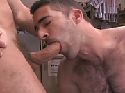 Remy Delaine and Roman Ragazzi are two mechanics having a nice long sex session in a greasy garage. Both men are confident, hairy studs whose bodies are close to perfection and so is the sex they create. Remy dives in and takes his time eating Romans butt