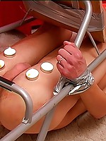 Kinky hot wax play for a twink tied to a chair