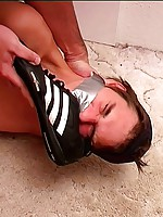 Master makes tied boy sniff trainers and white socks