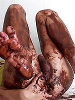 Cute guy serves thick chocolate butter right on his own body