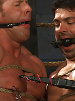 Bodybuilders Derek Pain and Vince Ferelli are tied up and at the mercy of Christian Wilde and Van Darkholme.