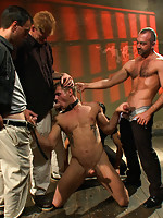 Trent Diesel gets tied up, receives cocks and bukake in all directions, and loving it.