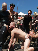 A stud is stripped naked and humiliated in public.