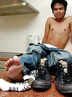 Sweet cute boy with an insatiable pair of feet