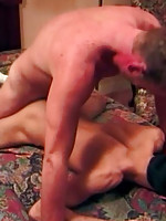Boy gives footjob and gets fucked