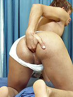 Sexy gay boy parts his buns for a horny mature man
