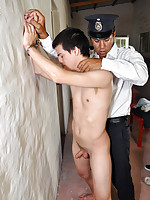 Young inmate opens his tasty ass for an old guard
