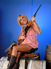 Busty Kimber as a naughty slutty cowgirl