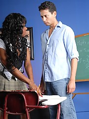Ebony tgirl gets her sexy booty fucked by her teacher