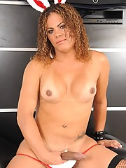 Transsexual bunny stripping and posing