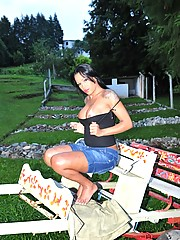 Ethnic Brazilian Tgirl Cinthia Close Posing Outdoors