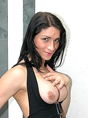 Hung tranny Adriana Rodrigues in a black dress strips and plays