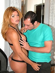 Carla Bruna meet Claudio and get her fat cock sucked by this dude