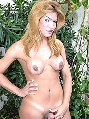 Busty and fat cock tgirl Carla Bruna wearing a trikini and strips