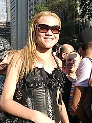 Trannies showing tits in the streets at the parade in Brazil