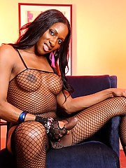 Chocolate tgirl posing in sexy fishnet