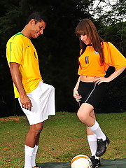Transsexual gets banged on the football court