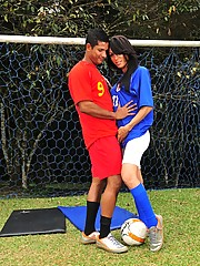 Sexy TS footballer gives a blowjob and rides a dick