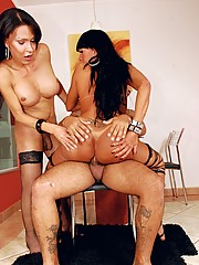 Two sexy shemale sweethearts getting banged from a guy