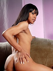 Ebony shemale Sparkle playing with her big cock