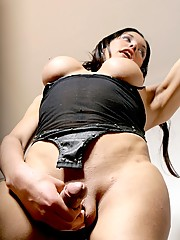 Super hot shemale Daniela playing with her cock and ass