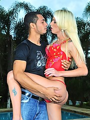 Horny shemale Dani de Castro banged by the gardener