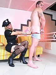 Shemale officer Rafaely gets banged by a bad boy