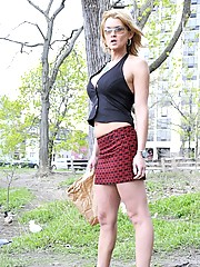 Adorable Tranny Astrid Shay Posing Outdoors