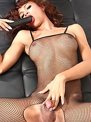 Sexy May In Fishnet Masturbating And Toying Herself