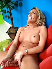 Vegas Shawna jerking off in a red chair