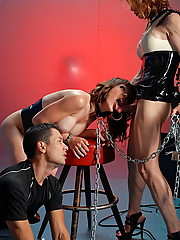 Jasmine Jewels dominationg her two slaves