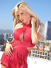 Super hot Kimber James posing on the rooftop in LA