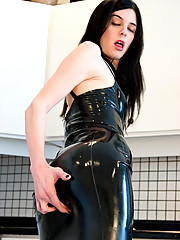 Naughty Mandy Mitchell in sexy black latex dress