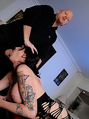 Brunette tGirl giving a guy a nice blowjob
