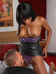 Horny ebony tgirl in hot threesome