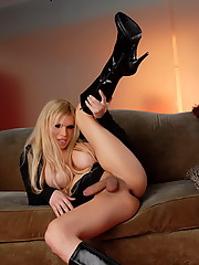 Transsexual Jesse shows off her juicy stiff dick