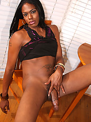 Tall slim black tgirl with a long black cock!