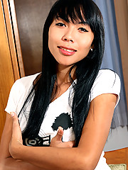 Natty is a horny ladyboy with the most perfect, natural A cup breasts and perky nipples!
