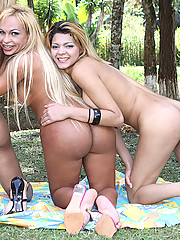 Three shemales strip down outdoors and start playing with each other